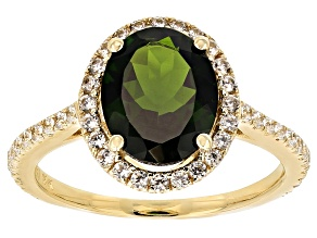 Womens Halo Ring Green Chrome Diopside White Zircon 3ctw 10k Gold