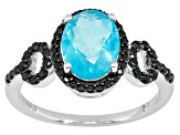 Blue Ethiopian Opal .95ct With Black Spinel .30ctw Sterling Silver Ring