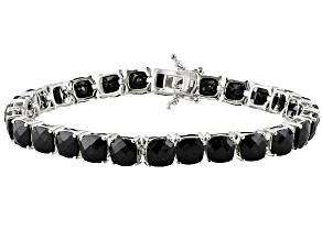 Black Spinel Sterling Silver Line Bracelet 28.08ctw