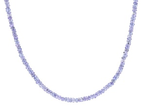 38.00ctw Tanzanite Sterling Silver Faceted Rondelle Bead Necklace