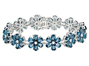 Blue Topaz Sterling Silver Bracelet 32.51ctw