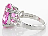 12.00ct Oval Lab Created Pink Sapphire With .05ctw Round White Diamond Accents Sterling Silver Ring