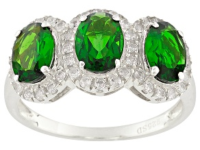 Green Chrome Diopside And White Zircon Rhodium Over Sterling Silver 3-Stone Ring 2.69ctw