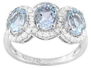 Blue Aquamarine And White Zircon Sterling Silver 3-Stone Ring 2.89ctw