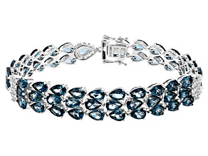 London Blue Topaz Rhodium Over Sterling Silver Bracelet 27.14ctw