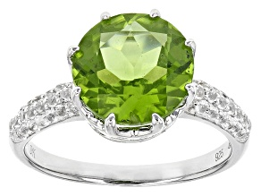 Green Peridot Rhodium Over Sterling Silver Ring 4.55ctw