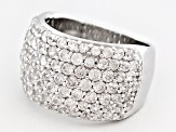 White Zircon Sterling Silver Band Ring 4.50ctw