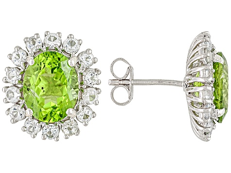 Green Peridot Rhodium Over Sterling Silver Earrings 6.94ctw