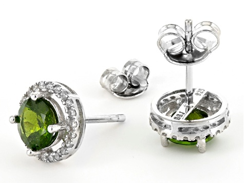 Green Chrome Diopside Sterling Silver Earrings 2.31ctw