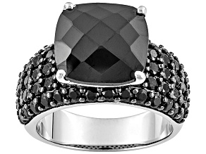 Black Spinel Rhodium Over Sterling Silver Ring 10.70ctw