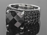 Black Spinel Sterling Silver Ring 10.70ctw
