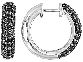 Black Spinel Rhodium Over Sterling Silver Hoop Earrings 2.50ctw