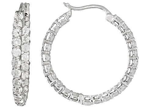 White Zircon Sterling Silver Hoop Earrings 3.50ctw