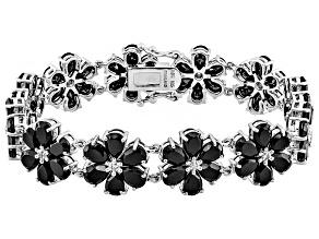 Black Spinel Sterling Silver Floral Bracelet 34.55ctw