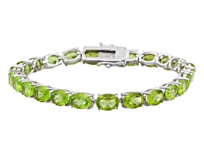 Green Peridot Rhodium Over Sterling Silver Tennis Bracelet 17.25ctw