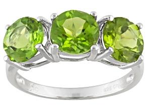 Green Peridot 3-Stone Silver Ring 4.00ctw