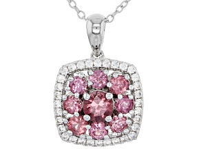 Pink color shift garnet silver pendant with chain 1.90ctw