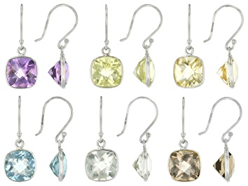 Picture of Blue Topaz Silver Set Of 6 Earrings 31.00ctw