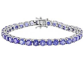 Blue Tanzanite Silver Tennis Bracelet 17.00ctw