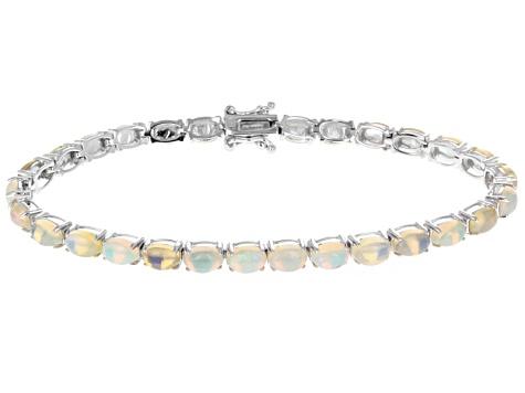 Ethiopian Opal Sterling Silver Tennis Bracelet 8 50ctw