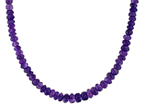 Purple African Amethyst Bead Rhodium Over Silver Necklace Approximately 75.00ctw