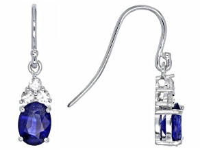 Blue Mahaleo® Sapphire Rhodium Over Sterling Silver Earrings 3.80ctw
