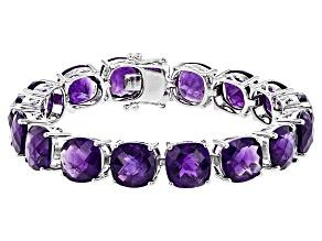 Purple African Amethyst Sterling Silver Bracelet 55.00ctw
