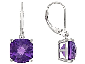 Purple African Amethyst Rhodium Over Sterling Silver Earrings 6.50ctw
