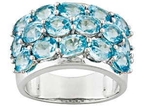 Blue Zircon Rhodium Over Sterling Silver Ring 8.68ctw