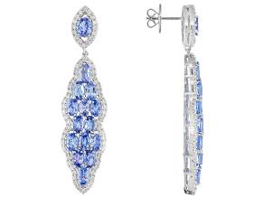Blue Tanzanite Sterling Silver Earrings 8.76ctw