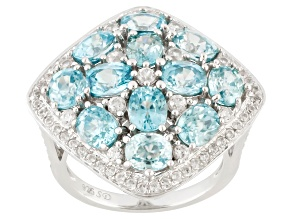 Blue Zircon Silver Ring 6.77ctw
