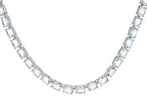 Blue Aquamarine Sterling Silver Necklace 45.00ctw