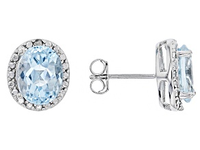 Blue Topaz 4.70ctw With .01ctw White Diamond Sterling Silver Earrings