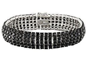 Black Spinel Silver Bracelet 35.00ctw