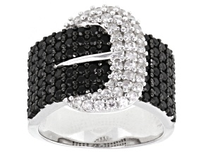 Black Spinel And White Zircon Rhodium Over Sterling Silver Buckle Ring 2.75ctw