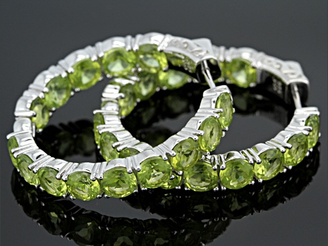 Green Peridot inside-Outside Rhodium Over Sterling Silver Hoop Earrings 15.70ctw
