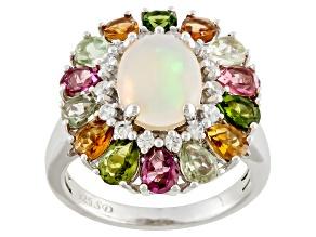 White Ethiopian Opal Silver Ring 3.58ctw