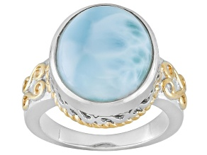 Blue Larimar Two Tone Sterling Silver Ring