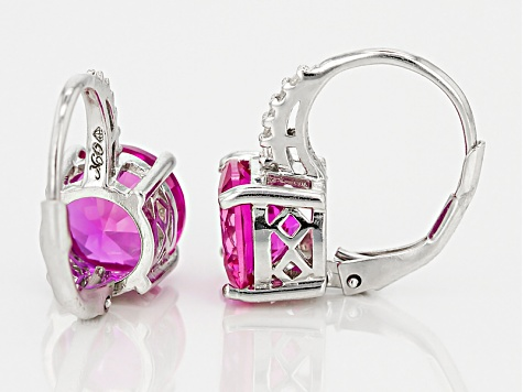 Pink Lab Created Sapphire Rhodium Over Sterling Silver Earrings 4.65ctw