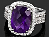 Purple African Amethyst Sterling Silver Ring 6.60ctw