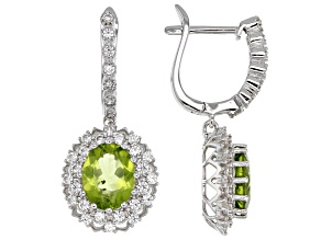 Green Manchurian Peridot Sterling Silver Earrings 5.42ctw