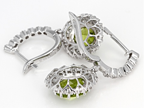 Green Manchurian Peridot Rhodium Over Sterling Silver Earrings 5.42ctw