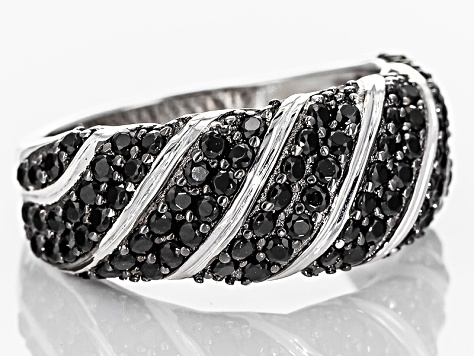 Black Spinel Sterling Silver Ring 2.00ctw