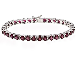 Raspberry color Rhodolite Sterling Silver Tennis Bracelet 16.16ctw