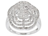 White Diamond Rhodium Over Sterling Silver Ring 0.85ctw