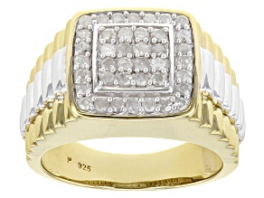 White Diamond Rhodium & 14K Yellow Gold Over Sterling Silver Gents Ring 0.75ctw