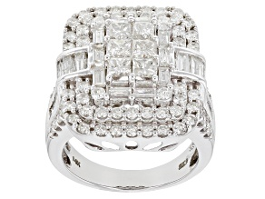 White Diamond 14K White Gold Ring 3.03ctw