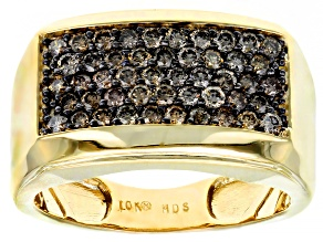 Champagne Diamond 10K Yellow Gold Gents Ring 1.00ctw