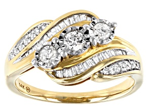 White Diamond 14K Yellow Gold Ring 0.50ctw