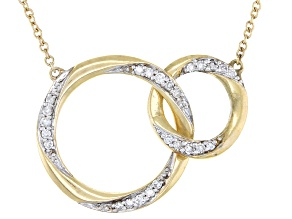 White Diamond 10K Yellow Gold Convertible Interlocking Circle Necklace 0.17ctw